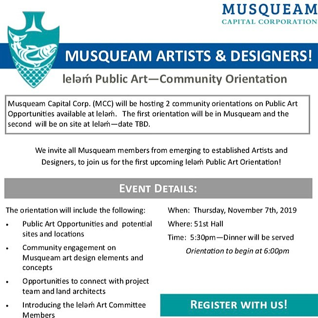 Attention ALL Musqueam Artists & Designers! –  On Thursday, November 7th, we wil