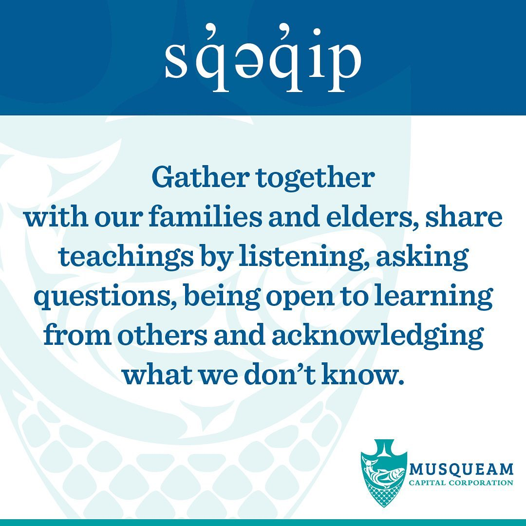 sq̓əq̓ip / gathered together – We gather together with our families and elders,
